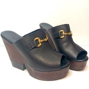 Charles David Leather Wooden Heel Gold Horse Bit